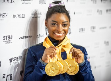 Simone Biles claimed an unrivalled 19th world gold today.