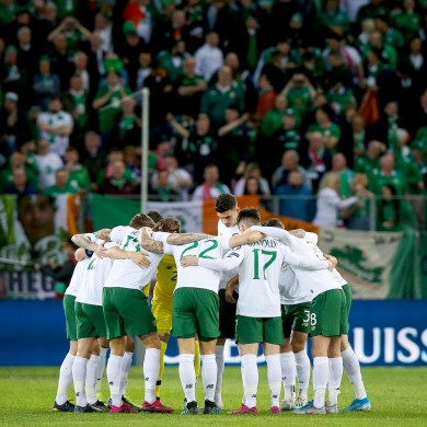 Ireland huddle.
