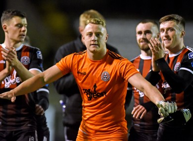 Bohemians goalkeeper James Talbot celebrates.