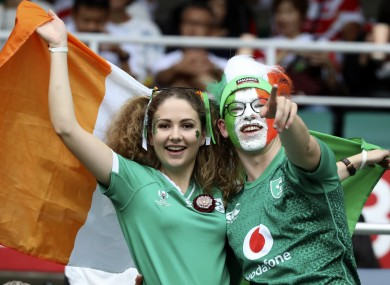 Two Ireland fans enjoying the tournament.