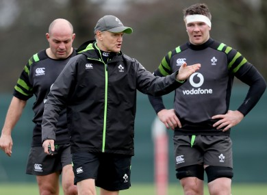 Joe Schmidt and Peter O'Mahony during an Ireland training session.