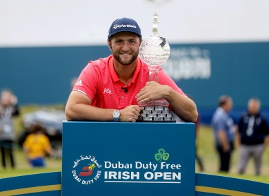 Jon Rahm with the trophy following his victory in the 2019 Irish Open at Lahinch Golf Club.