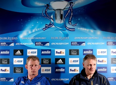 Leo Cullen and Joe Schmidt during a Leinster press briefing in 2013.