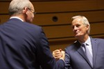 Michel Barnier and Simon Coveney greet each other at a meeting of EU General Affairs ministers.