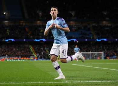 Manchester City's Phil Foden celebrates scoring.