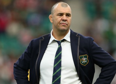 A dejected Australia head coach Michael Cheika.
