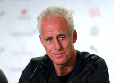 Mick McCarthy speaks to the media at the Stade de Geneva ahead of tomorrow's game.