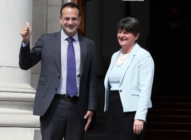 The Taoiseach with the DUP leader at Government Buildings in 2017.