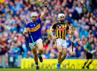 Niall O'Meara celebrating his goal for Tipperary in this year's All-Ireland senior final.