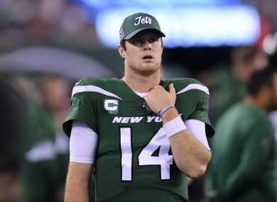 Sam Darnold during his side's defeat to the New England Patriots.