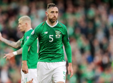 Richard Keogh playing for Ireland against Gibraltar in June.