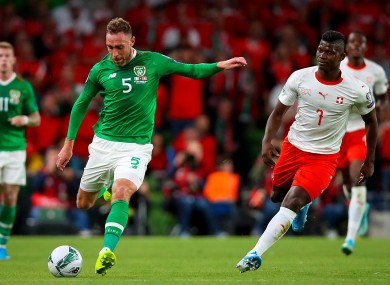 Keogh lining out for Ireland against Switzerland during the current qualification campaign.