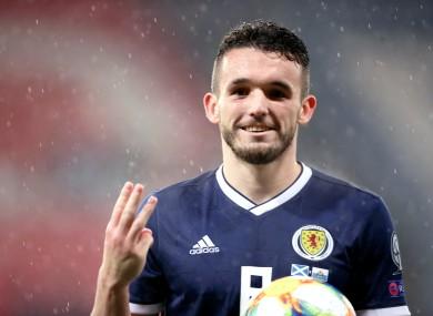 John McGinn celebrates Scotland's victory.