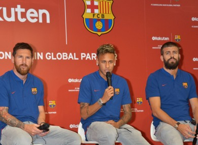 Neymar, Pique and Messi back in 2017.