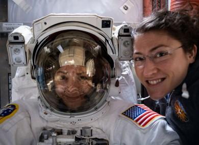 NASA astronauts Christina Koch (right) and fellow Expedition 61 Flight Engineer Jessica Meir