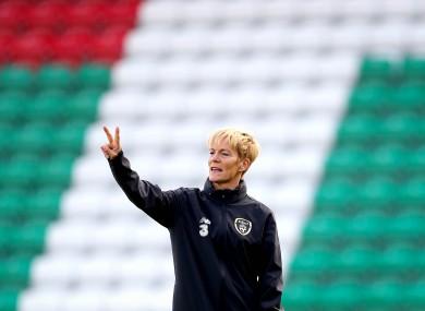 Vera Pauw at training in Tallaght Stadium yesterday.