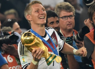 Schweinsteiger pictured after beating Argentina in the 2014 World Cup final in Rio.