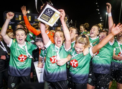 Peamount United players celebrating their league victory this year.