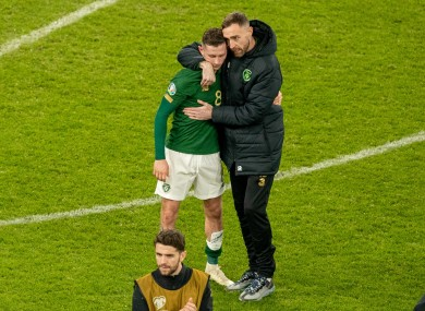Republic of Ireland's Alan Browne and Richard Keogh after the game.