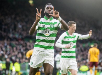 Odsonne Edouard celebrates scoring his side's first goal against Motherwell.