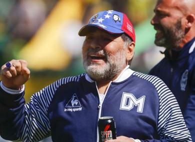 Diego Maradona while in charge of Gimnasia y Esgrima La Plata