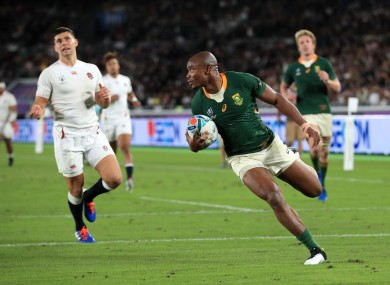 Mapimpi scores South Africa's first try against England.