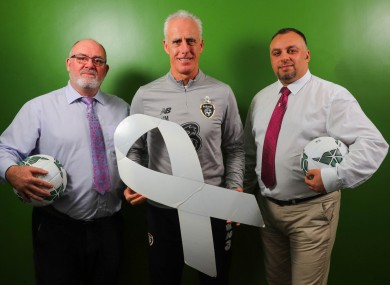 Sean Cooke (CEO of Men's Development Network), Mick McCarthy and Mark Khan (White Ribbon Engagement Officer at Men's Development Network).