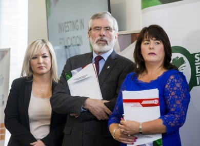 Sinn Féin's Michelle Gildernew alongside Michelle O'Neill and Gerry Adams in 2017.