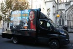 The LibDems' Debate Her billboard outside the Royal Courts of Justice.
