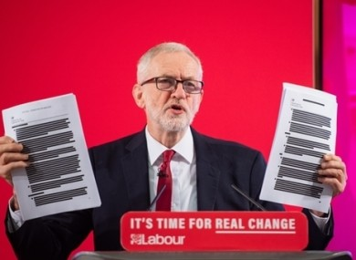 Corbyn at today's press conference.