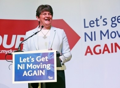 DUP leader Arlene Foster at the launch of her party's election manifesto.