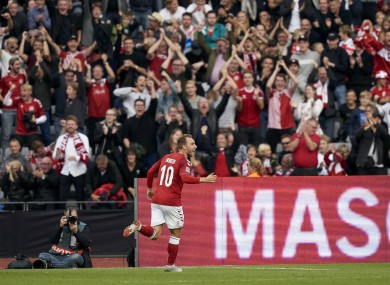 Eriksen celebrates a goal for the Danes (file pic).