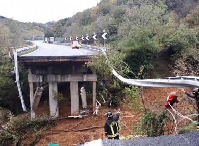A 100ft section of road along a viaduct near the flooded Italian coastal city of Savona collapsed on Sunday