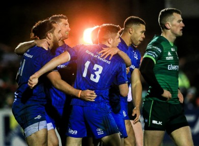 Leinster celebrate their sixth try.