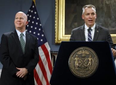 Outgoing NYPD chief James O'Neill (left) and his successor Dermot Shea.