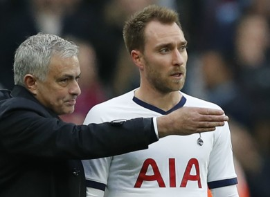 Jose Mourinho pictured with Christian Eriksen.