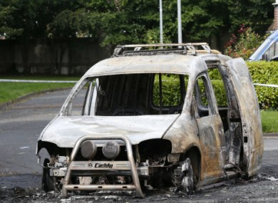 A burnt-out vehicle near the scene of the shooting in Lucan.