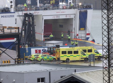 Emergency personnel at Rosslare Europort in Co Wexford, board the Stena Line ferry after 16 people were discovered in a sealed trailer on the ship sailing from France.