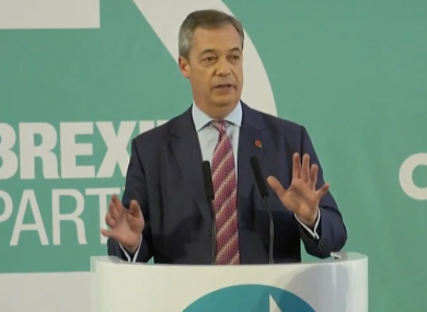 Nigel Farage delivering an election speech today,