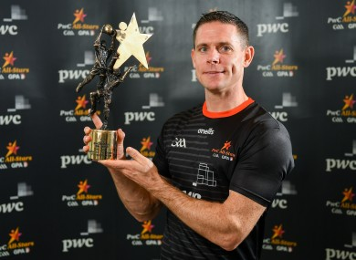 Dublin footballer Stephen Cluxton with his PwC GAA/GPA Footballer of the Year award at the PwC All-Star Awards 2019 at the Convention Centre in Dublin.