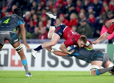 Dan Lydiate with one of his 23 tackles.