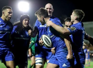 Ross Byrne celebrates scoring Leinster's fifth try against Connacht.