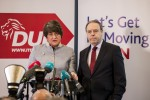 Arlene Foster with party colleague Nigel Dodds speaking at the launch of a new policy plan in Belfast today.