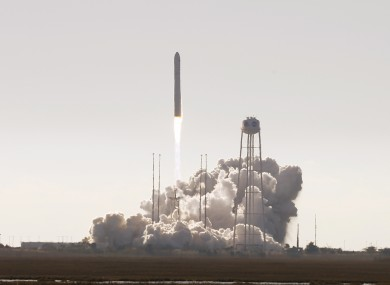Northrop Grumman's Antares rocket lift off the launch pad at NASA Wallops Flight facility in Wallops Island, Virginia.