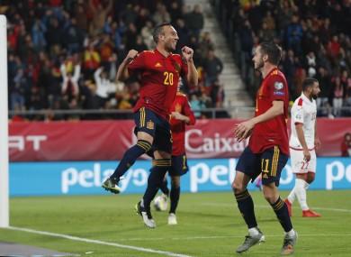 Santi Cazorla celebrates his goal for Spain.