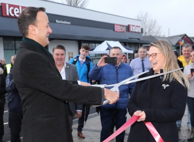 Taoiseach Leo Varadkar jokes with Fine Gael councillor Emer Currie as he opens the redeveloped Mountview Shopping Centre in Blanchardstown.