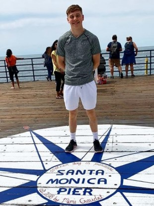 James Power poses on the Santa Monica pier in California.