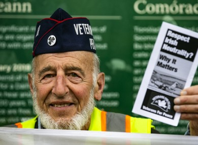 Major Ken Mayers pictured at a protest outside Leinster House in July.