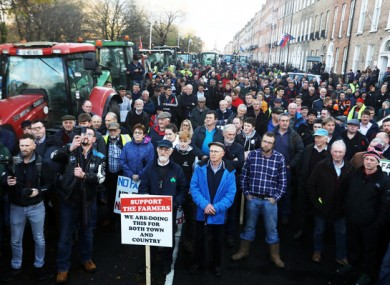 Farmers at Merrion Square last month. This new protest in Naas has been organised by the Irish Farmers' Association.