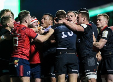 Row: Incident sparked a scuffle between the Munster and Saracens players.